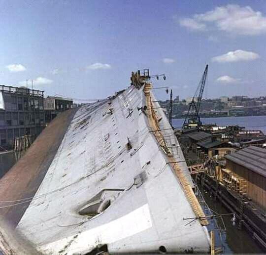 USS Lafayette lying in New York harbor, circa 1943.