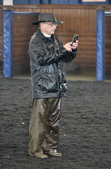 2018-02-10 (39) the officail 'starter' takes a repreve from the rain in the paddock at Laurel Park