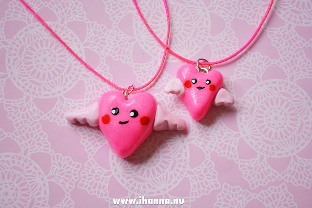 Twin Kawaii Hearts made from clay made by iHanna