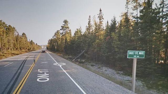 Sault Ste Marie 140 km. #ridingthroughwalls #xcanadabikeride #googlestreetview #ontario