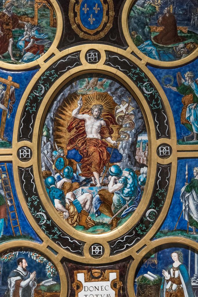 """Léonard Limosin (c. 1505-1575/1577) """"Retable de la Sainte-Chapelle, la Résurrection, dét. (Limoges, 1553, émail peint sur cuivre) — musée du Louvre (Paris, France)"""