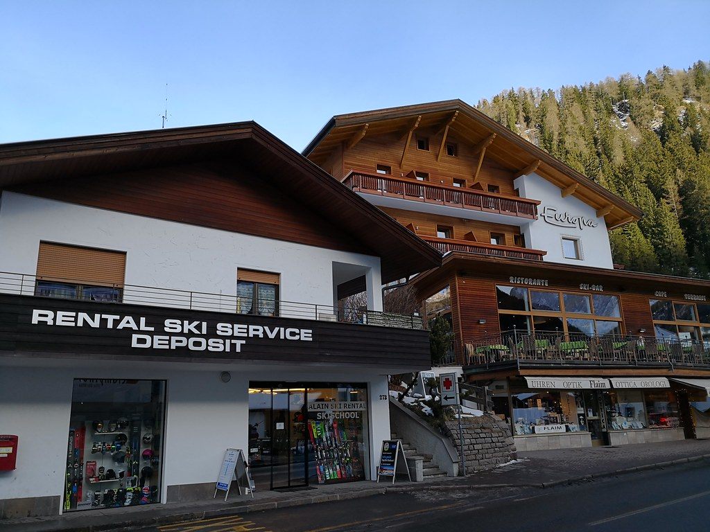 Ski rental and restaurants at the base