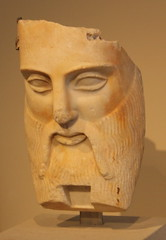 A Greek Early Classical Fragmentary Marble Head of the River God Achelous