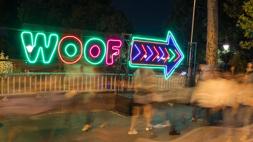 Neon Dogs display at White Night Melbourne 2018