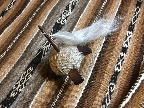 Kuchulu spindle with cashmere/silk fiber