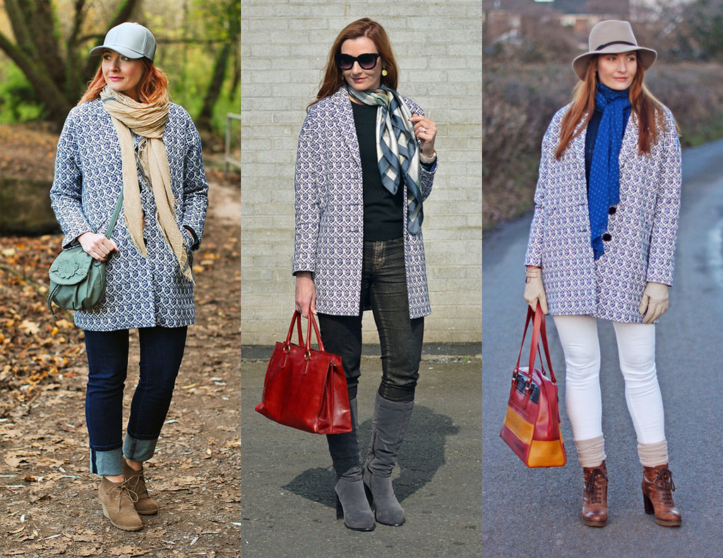 3 Ways to Wear 1 Blue Tapestry Coat | Not Dressed As Lamb, over 40 style