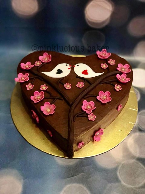 Pure chocolate ganache cake with Fondant accents love birds n blossoms by Pinkle of Pinklucious Baker