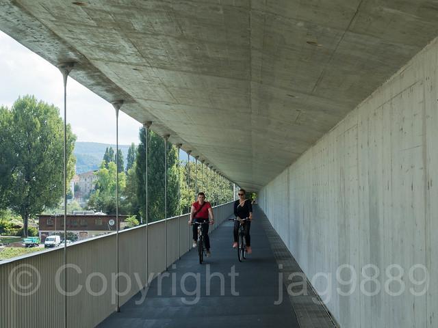 RHE348 Connecting Line Passenger Railroad Bridge over the Hochrhein River, Basel, Canton Basel-Stadt, Switzerland