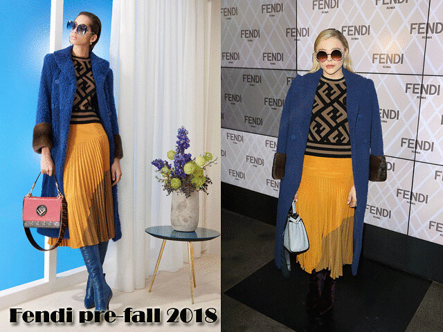 Fendi-pre-fall-2018-collection, deep blue shearing coat, yellow pleated skirt, accordion skirt, yellow accordion skirt, Fendi designer jumper , signature Fendi logo sweater,mustard pleated skirt,