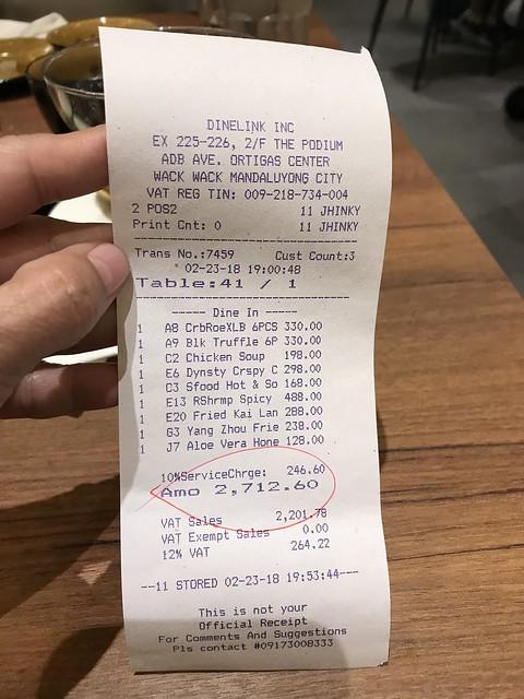 Paradise Dynasty food bill