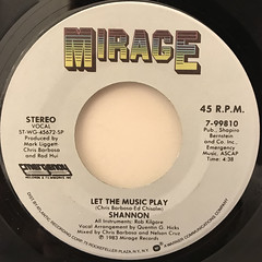 SHANNON:LET THE MUSIC PLAY(LABEL SIDE-A)
