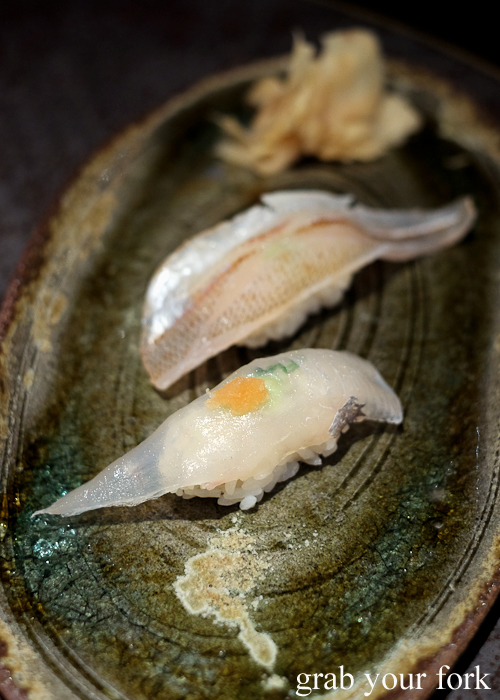 John Dory nigiri sushi and red spot whiting nigiri sushi, part of our omakase by Chef Ryuichi Yoshii at Fujisaki by Lotus at Barangaroo in Sydney