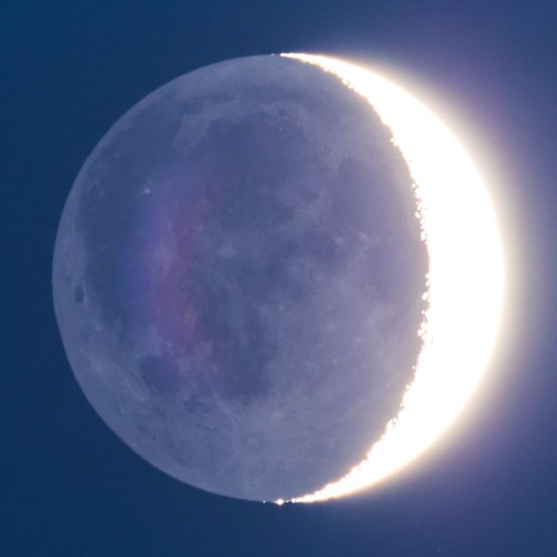 月齢4.3の地球照 (2018/1/21 17:35)