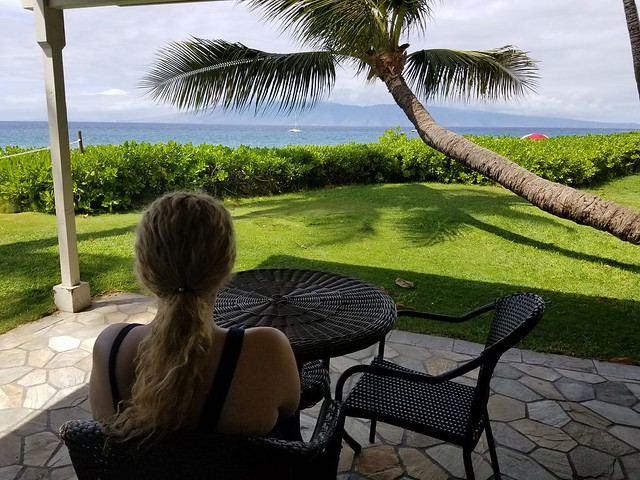 My sister outside our cottage at Royal Lahaina