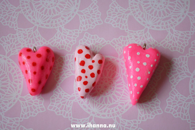 Three polka dot hearts made by iHanna