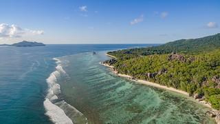 Anse Source d'Argent Strand Luftbild, La Digue Seychellen