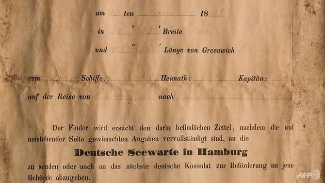 Pesan yang ditemukan dalam botol berasal dari Belanda abad ke-19 yang dilemparkan dari kapal layar Paula dari Jerman.