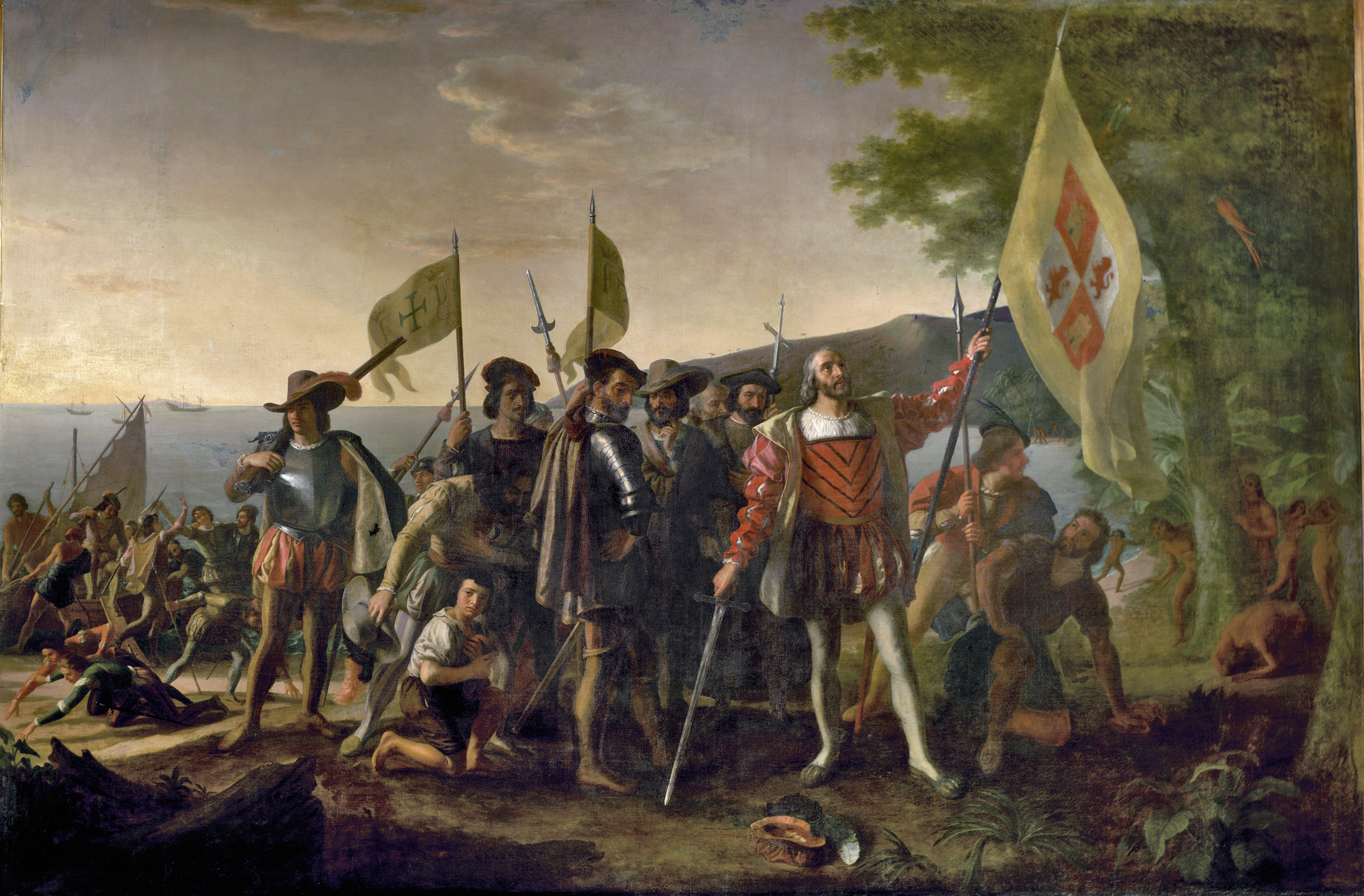 Christopher Columbus is depicted landing in the West Indies, on an island that the natives called Guanahani and he named San Salvador, on October 12, 1492. He raises the royal banner, claiming the land for his Spanish patrons, and stands bareheaded, with his hat at his feet, in honor of the sacredness of the event. The captains of the Niña and Pinta follow, carrying the banner of Ferdinand and Isabella. The crew displays a range of emotions, some searching for gold in the sand. Natives watch from behind a tree. Artist John Vanderlyn (1775-1852) had studied with Gilbert Stuart and was the first American painter to be trained in Paris, where he worked on this canvas for ten years with the help of assistants. Oil on canvas, 1847.