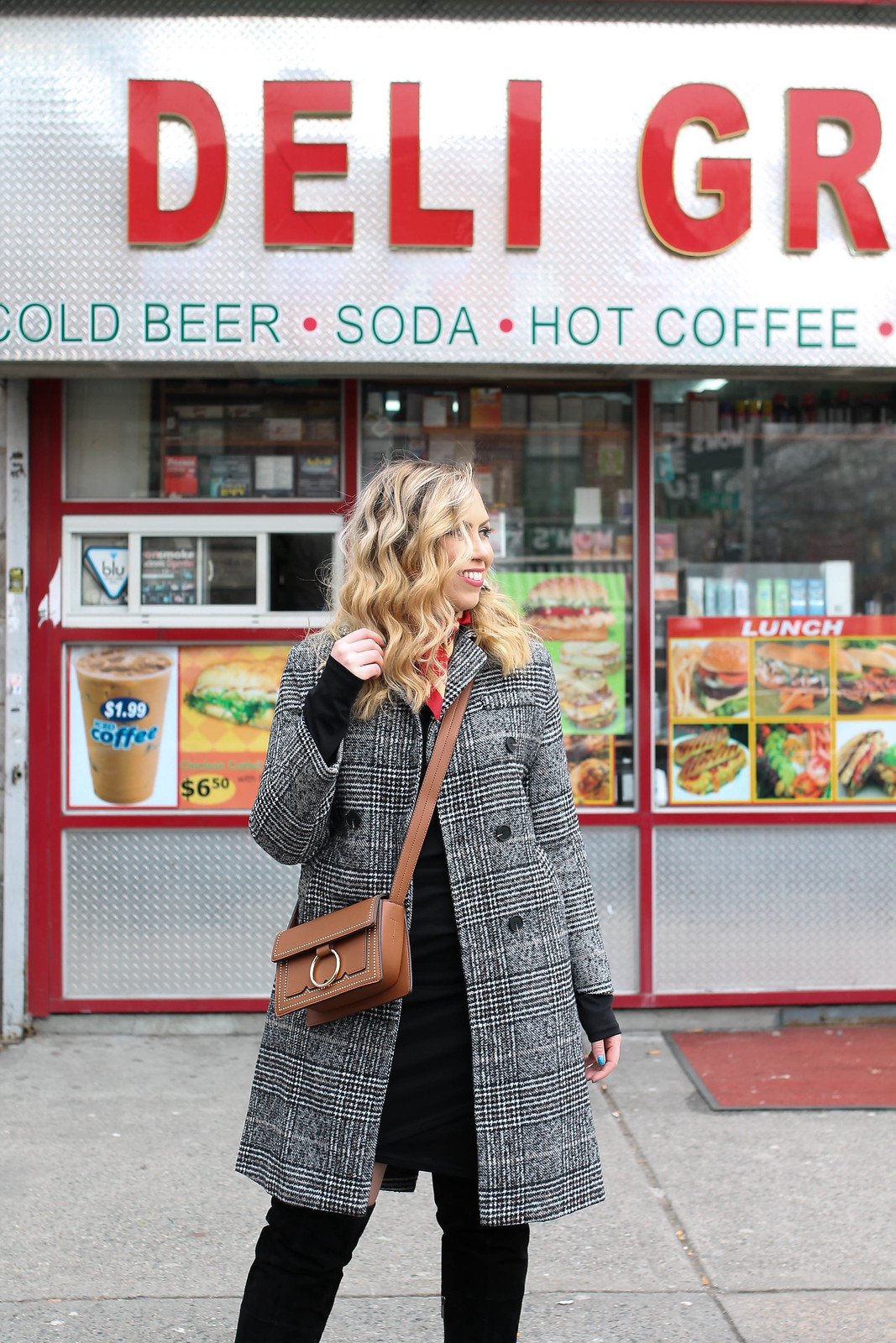 New York Winter All Black Outfit Plaid Coat Melie Bianco Cheri Bag Curly Blonde Hair