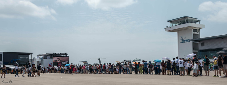 Long line of people queued up to view the F-35 full scale model