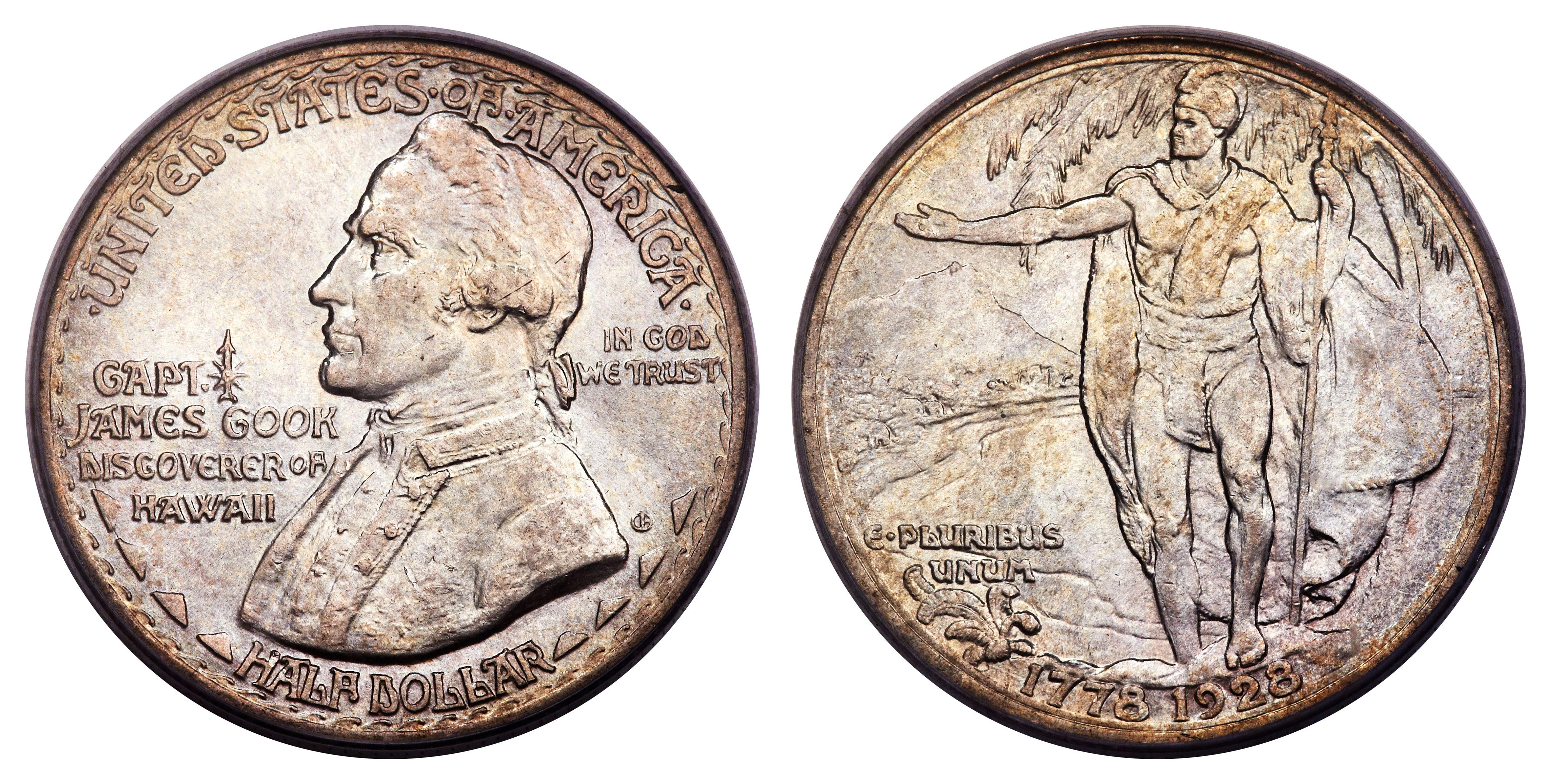 1928 Hawaii Sesquicentennial half-dollar commemorative coin, featuring James Cook.