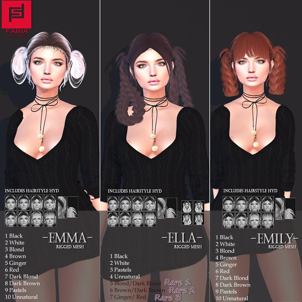 -FABIA- Mesh Hair   <Emma/Emily/Ella> - TeleportHub.com Live!
