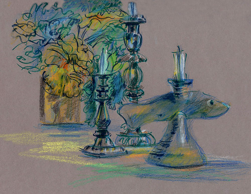 Fish and candles, still life at friends' house, toned paper, crayons, brush pens.