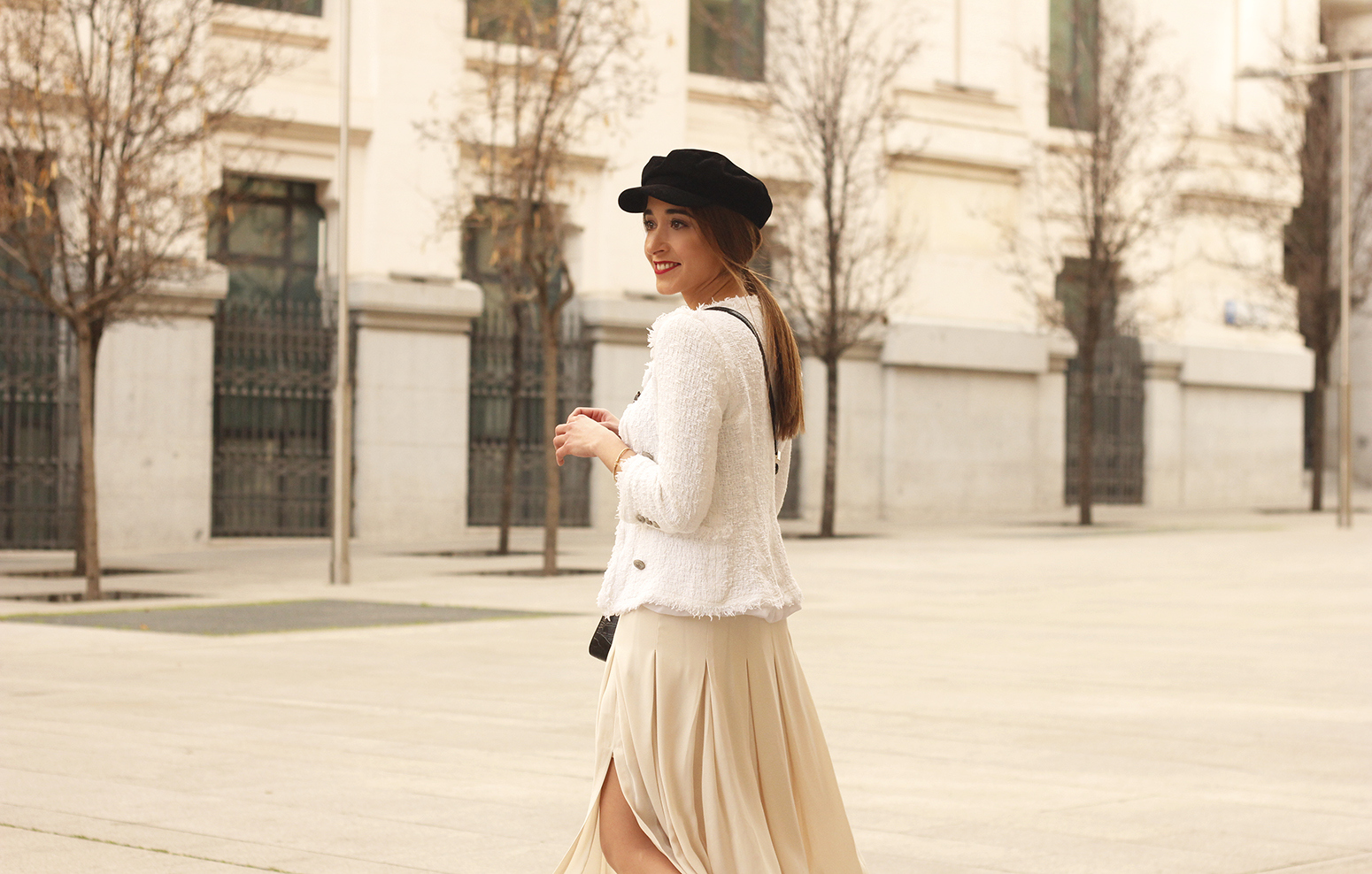 midi blush skirt white tweed jacket givenchy bicolor uterqüe boots winter outfit10