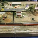 The Hiawatha runs through Joe Peacock's Wood Yard and Wood Yard Plus modules at the 2018 Worlds Greatest Hobby on Tour Show in Charlotte, NC