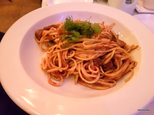 Penne Basque (changed to spaghetti)