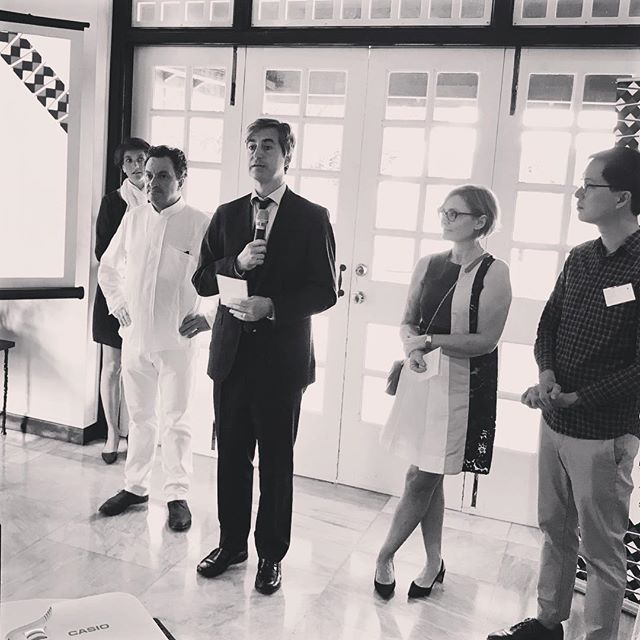 "Marc Abensour, Ambassador of France to Singapore (holding mic 🎤) flanked by Chef Yves Camdeborde, father of ""bistronomy"" and @airfrance VP Customer Service Carole Peytavin, announcing @good_france or Goût de France - a unique global event on 21"