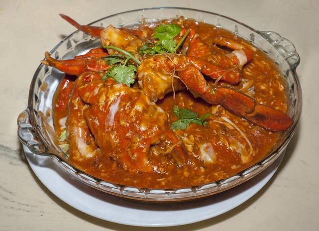 Mud crab (Scylla sp.) prepared as 'Chilli crab'