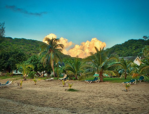 afternoon beach caribbean clouds nevis olympusdigitalcamera ouailiebeachresort oualiebeach palmtrees puffyclouds stkittsnevis