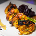 Tandoori King Prawns - Roasted jumbo prawns served with chili tikki, beet chips and mint ajwain chutney
