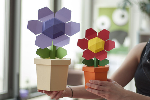 Flower Pot Paper Craft Kit by Katokami