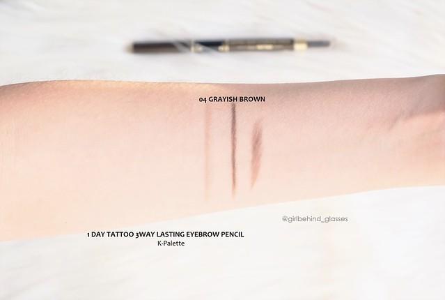 K-Palette 1 Day Tattoo Lasting 3Way Eyebrow Pencil Grayish Brown swatch