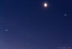 Mars, Moon and Jupiter