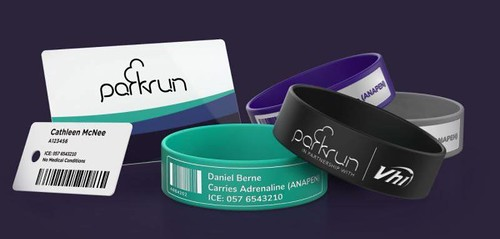 parkrun wristbands and tags