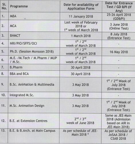 BIT Mesra schedule