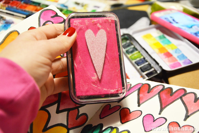 A lovefest with a neon pink stamp pad by iHanna #studioihanna