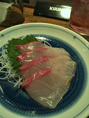 Sashimi, potato salada, and baisu sour at Sakanaya Yozo, Nakano