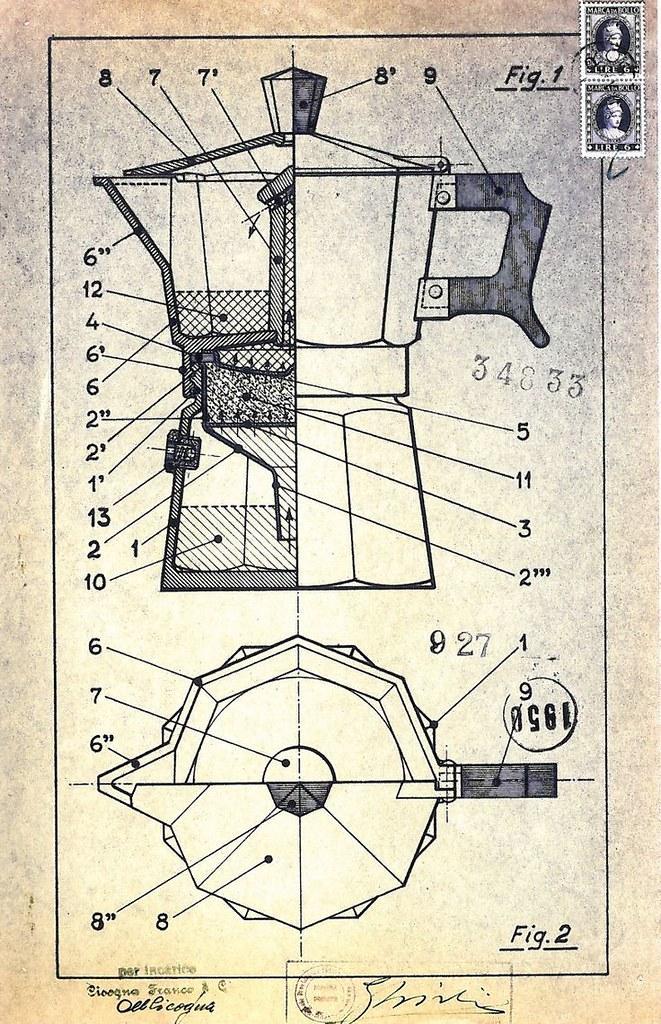 Bản vẽ thiết kế ấm moka của Luigi De Ponti, và Alfonso Bialetti