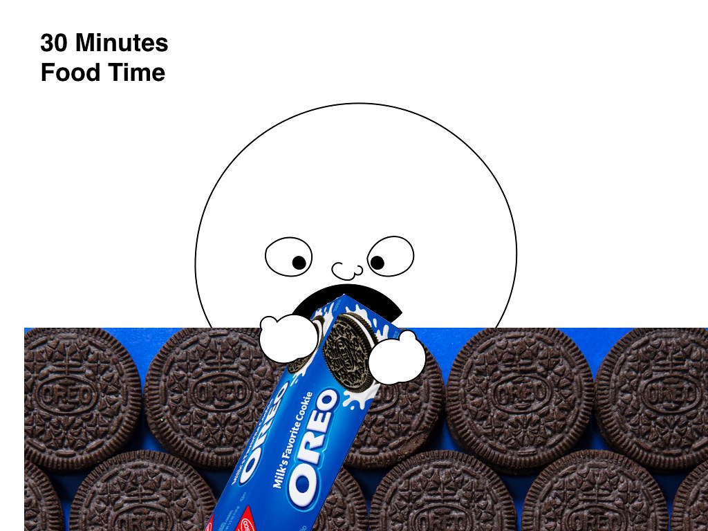 a giant cartoon head eating oreos