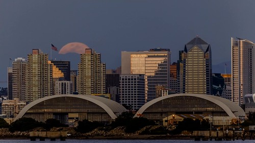 Moonrise Over San Diego and Naval Air Station North Island