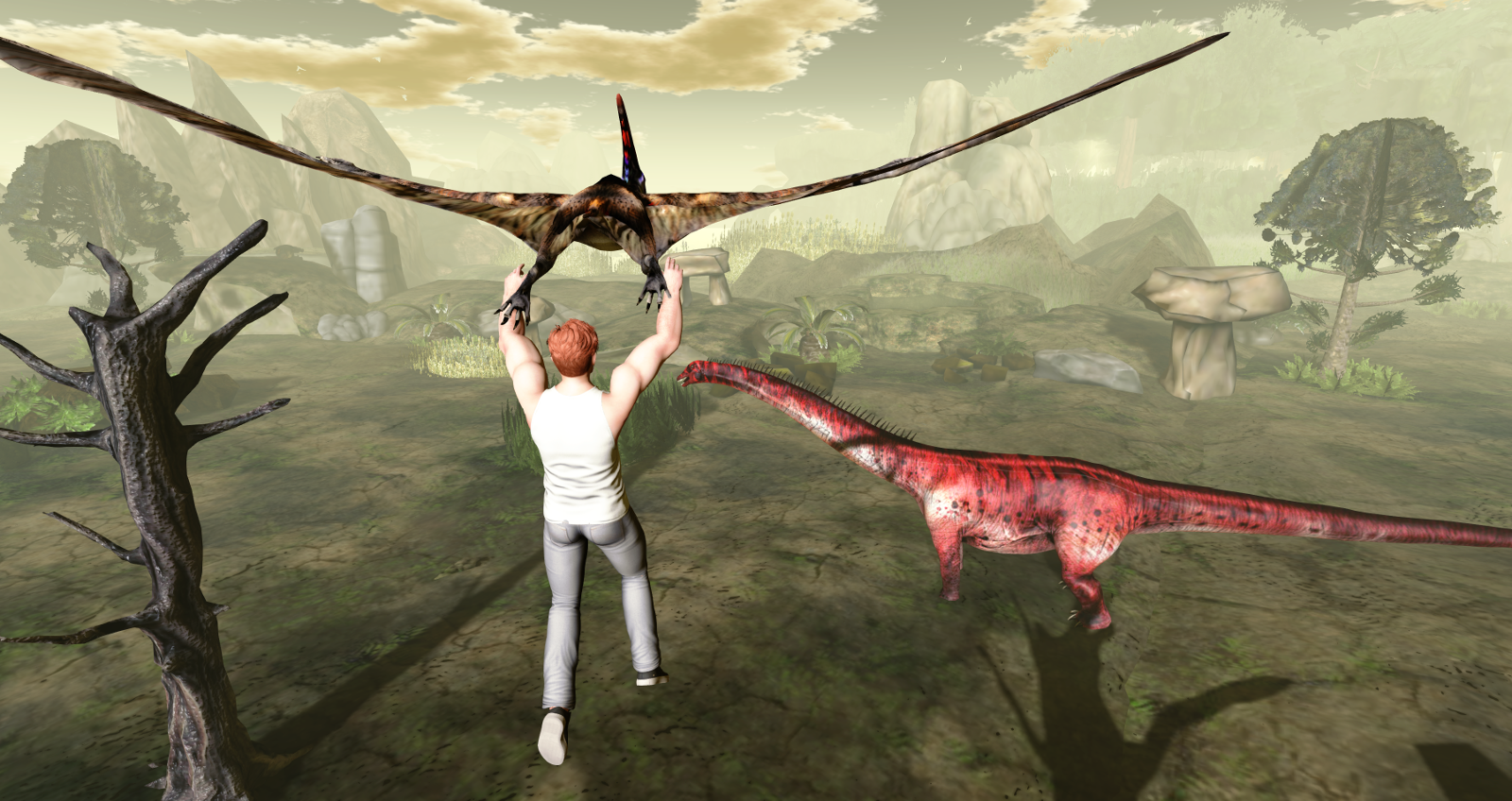 Ricco flies a Pteranodon and sees a Diplodocus