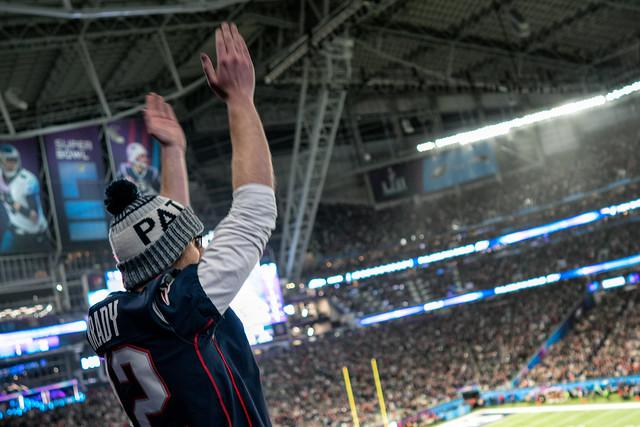 A Patriots fan celebrates a touchdown at the Super Bowl LII, Minneapolis MN