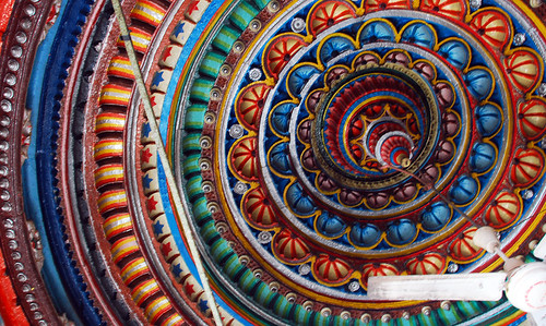 Brightly-painted ceiling in a temple in Bundi, India