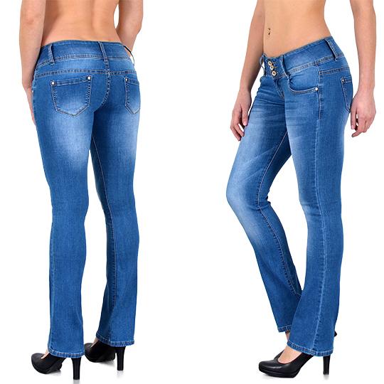 damen bootcut jeans damen jeanshose bootcut schlaghose h ftjeans top modelle g40 ebay. Black Bedroom Furniture Sets. Home Design Ideas
