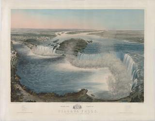 Bird's-eye view of Niagara Falls, New York, United States of America / Vue à vol d'oiseau des chutes Niagara, New York (États-Unis d'Amérique)