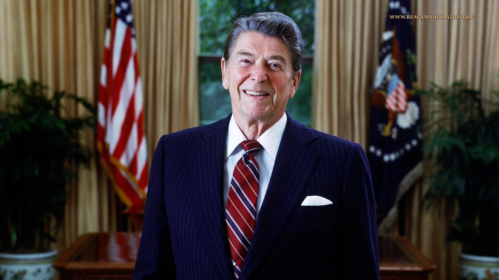 Official portrait of President Ronald Reagan, taken in the Oval Office of the White House, Washington, D..C. on June 3, 1985.